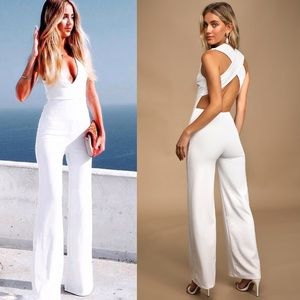 Lulu's Thinking Out Loud White Backless Jumpsuit